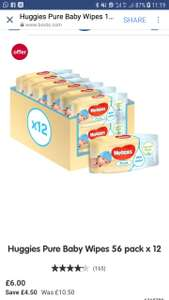Huggies Pure Baby Wipes 56 pack x 12 at boots