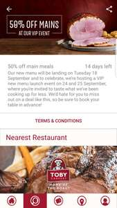 50% off all adult and childrens main meals Toby Carvery