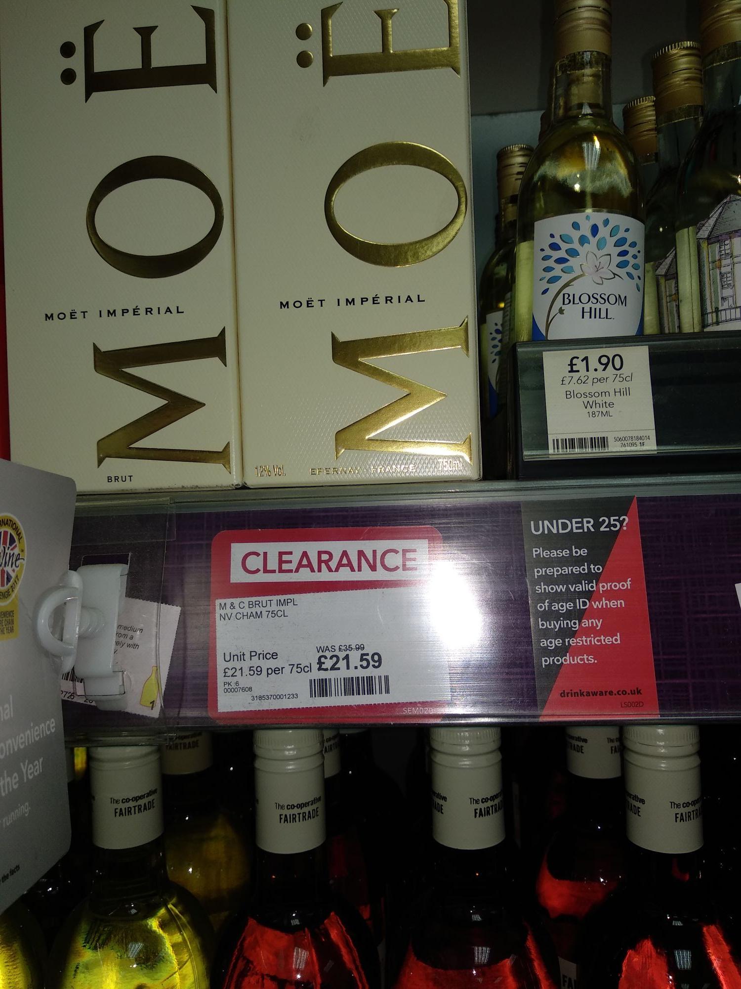 Moet & Chandon Champagne Reduced Instore (Preston) - £21.59 @ Co-Op
