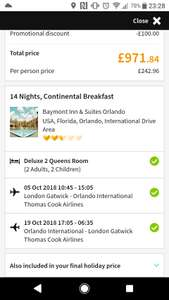 From London: Two Weeks Florida Package Holiday, Flights, Luggage, Hotel B&B & Car Hire - Family of 4 £971.84/£242.96pp @ Thomas Cook