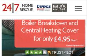 EMERGENCY/MILITARY SERVICES - BOILER / C-HEATING COVER - £4.95 (1 YR) (£95 excess) 24/7 Home Rescue