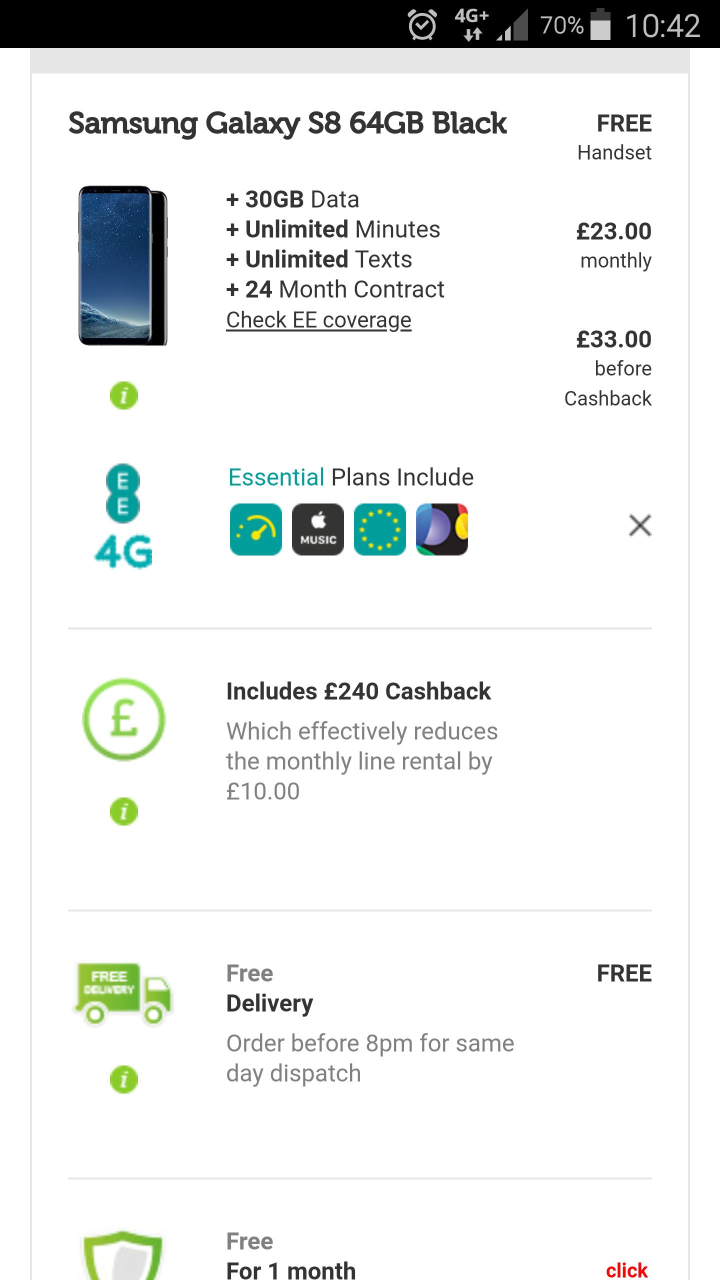 Mobile Phones Direct Deals - Samsung S8 Black £33 p/m 24 months £158.99 - £950.99  Mobile Phones Direct