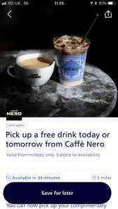 Pick up a free drink from caffe Nero via o2 priority