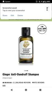 20% off ginger Anti-Dandruff shampoo 60ml £1.60 at The Body Shop with code