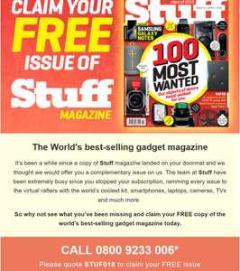 FREE copy of Stuff Magazine call 0800 923 3006 and quote STUF018