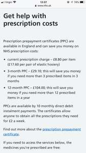 NHS PRESCRIPTION SAVING £104 12 months or £29.10 3 months - with Prepayment certificate (England Residents mainly)