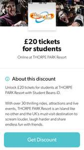 Thorpe Park student tickets - £20