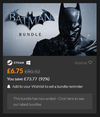 Batman Arkham Asylum, City and Origins + All DLC £6.75 for Steam @ Fanatical