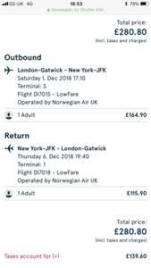 Norwegian Air Sale! Christmas shopping in New York 1st-6th December / Return flights direct from Gatwick £280.80pp!