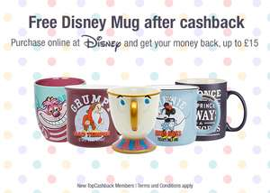 Free Disney Mug for new Topcashback members upto £15 from Disney Store (initial purchase required)