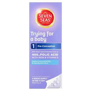 Seven Seas Trying for a Baby 28 daily mini pills - contain folic acid & essential vitamins & minerals. £2.99 instore @ Bodycare