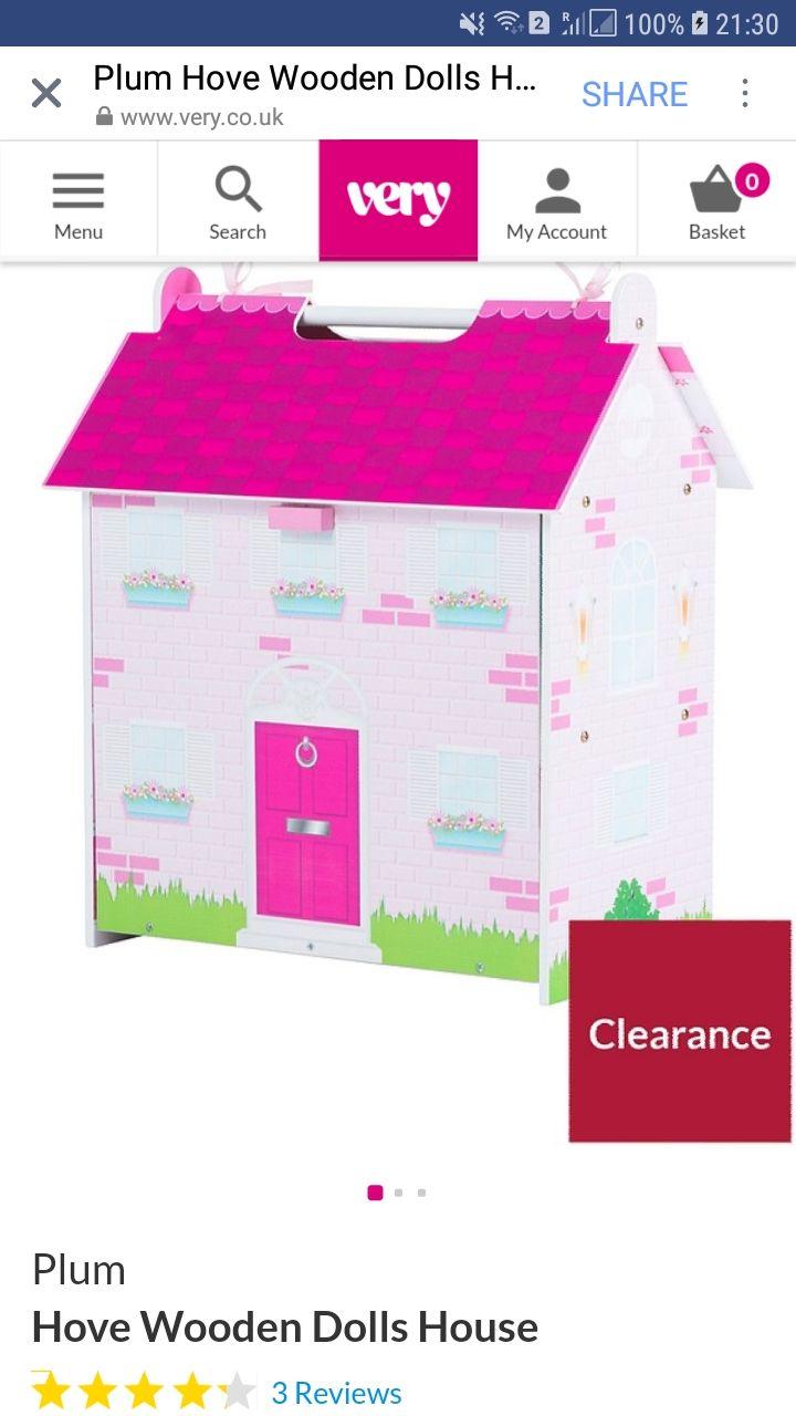 Plum Hove Wooden Dolls House @ very - £25.56 (free C&C)