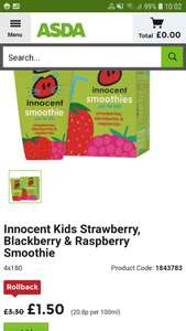 Innocent smoothies 4 pack kids £1.50 in store and online Asda