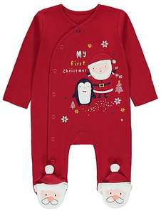 Red My First Christmas Penguin Sleepsuit sizes 0-3 mnth to 9-12mnth @george/asda