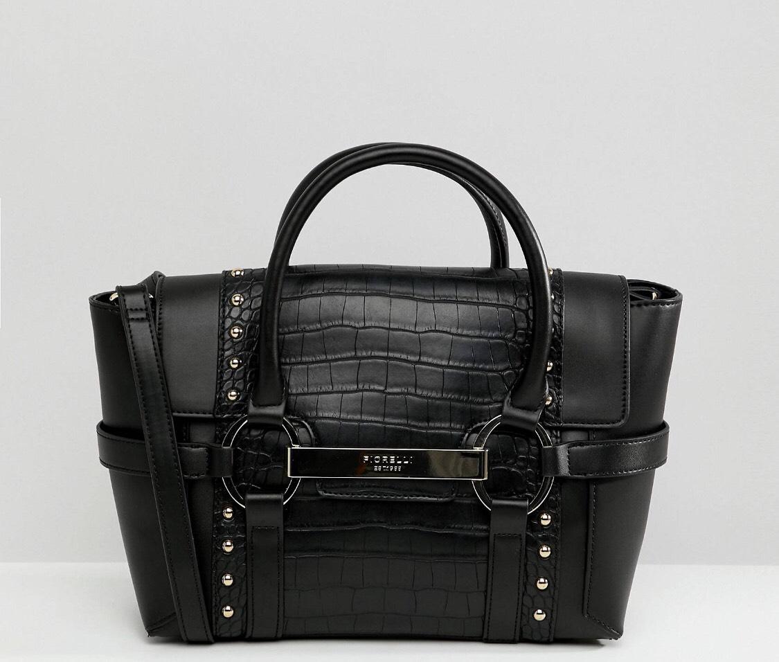 Fiorelli small black croc flapover Tote handbag £25 + free delivery @ Asos