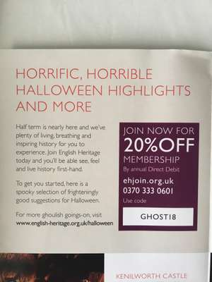 English Heritage membership 20% discount using code - £44.80