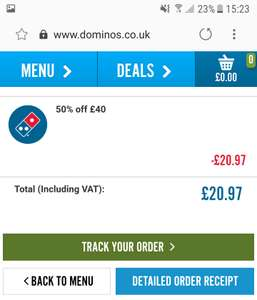 50% off a £40 spend @ Dominos