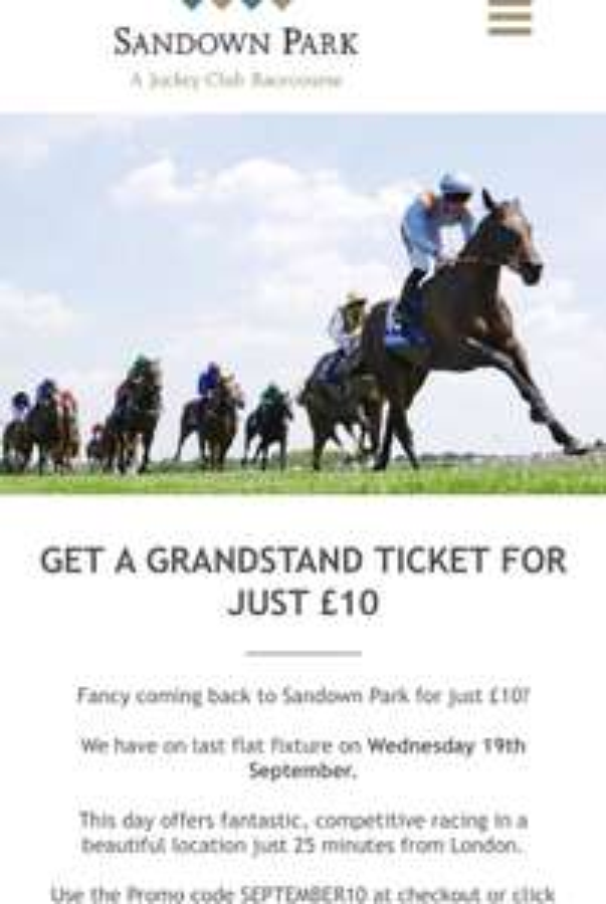 Racing at Sandown Park - Weds 19th September £10