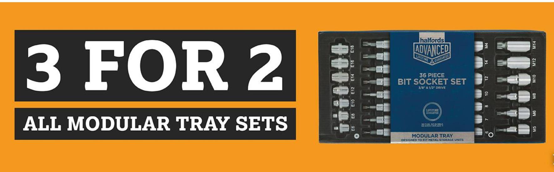 Halfords 3 for 2 deal on Workshop Modular Tray Sets