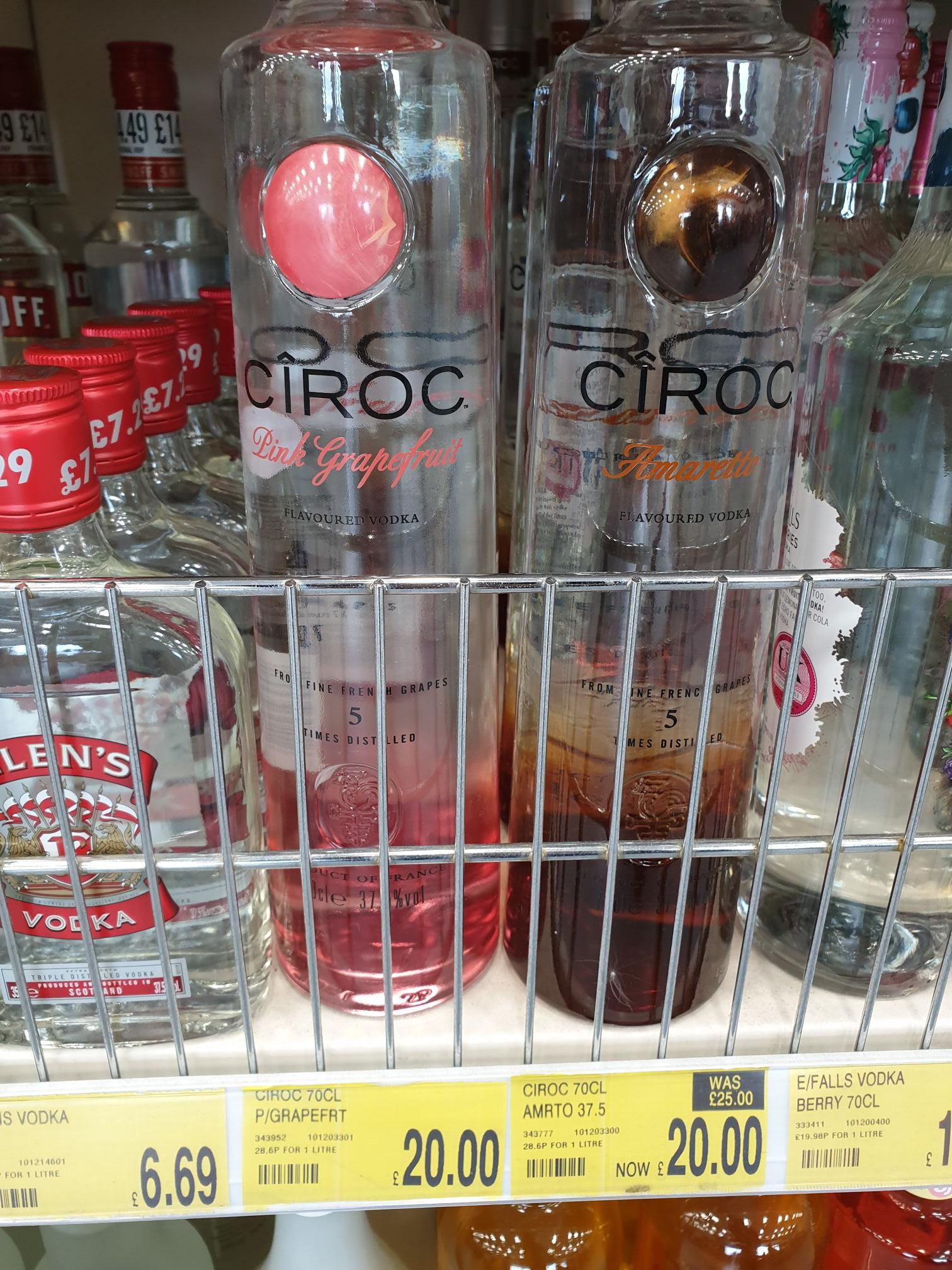 Ciroc vodka B&M bargains - £20 instore