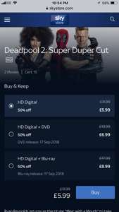 Deadpool 2: Super Duper Cut, half price on Sky Store £5.99