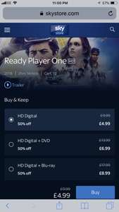 Ready Player One - Half price on Sky store! £4.99