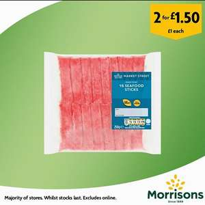 Morrisons 16 seafood sticks 250g, normally £1.00 now 2 for £1.50 instore