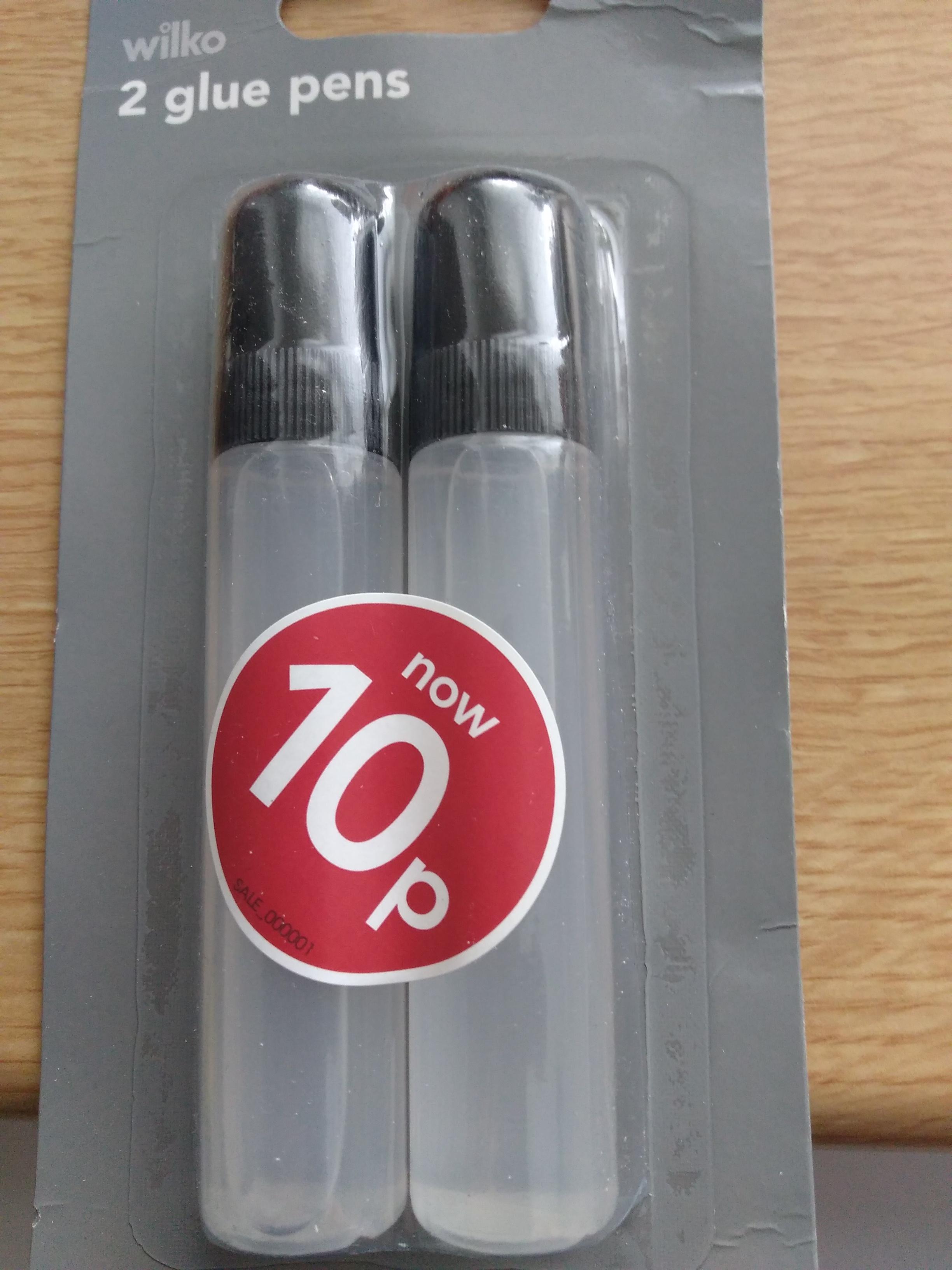 2 Glue Pens 10p instore at Wilko