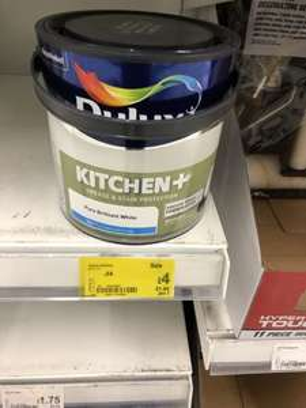 Dulux kitchen Matt white £4 / Dulux Matt or silk 2.5l £3.75 @ Asda instore