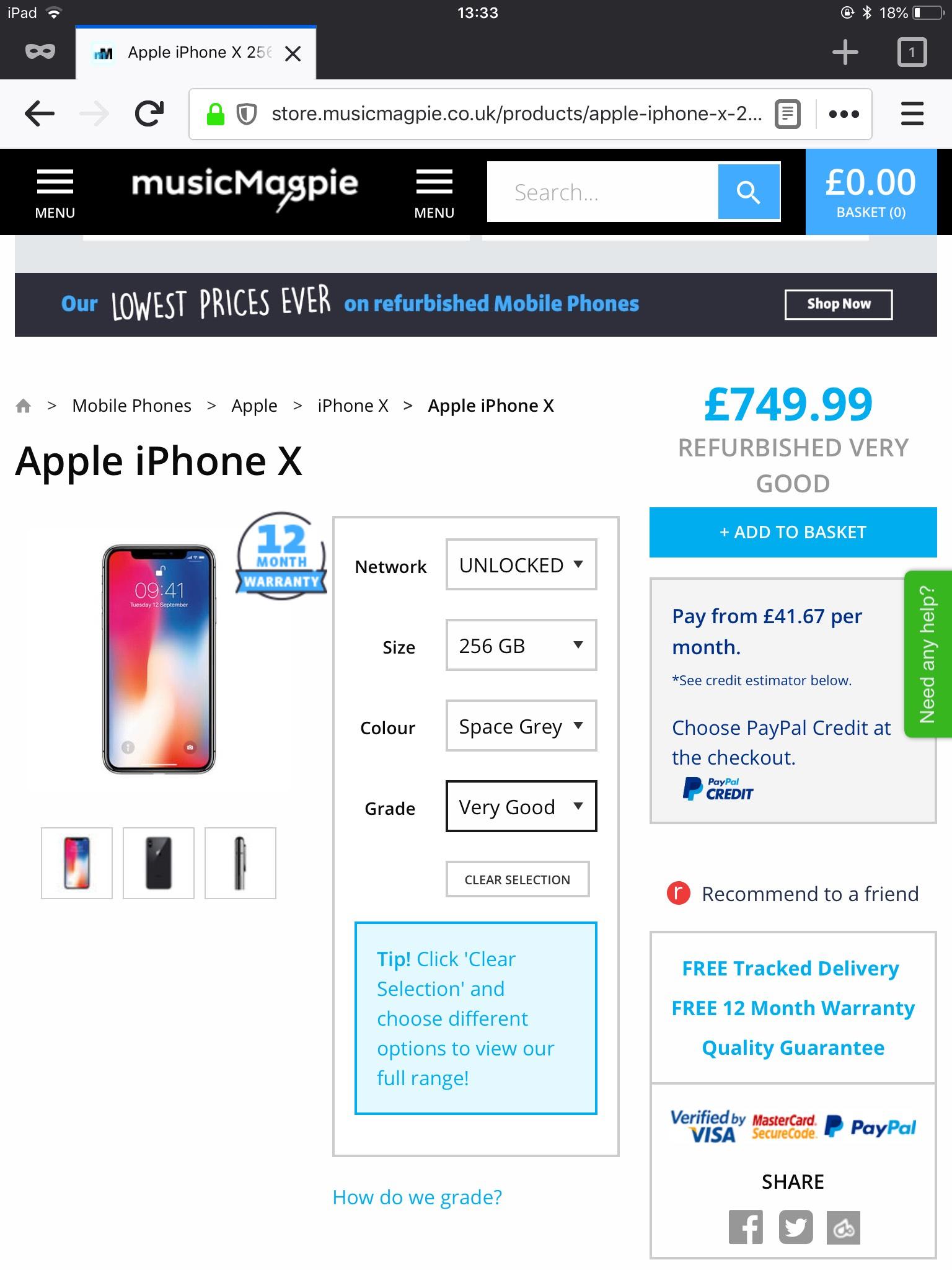 IPhone X 256 GB Refurbished £749.99 @ Music magpie