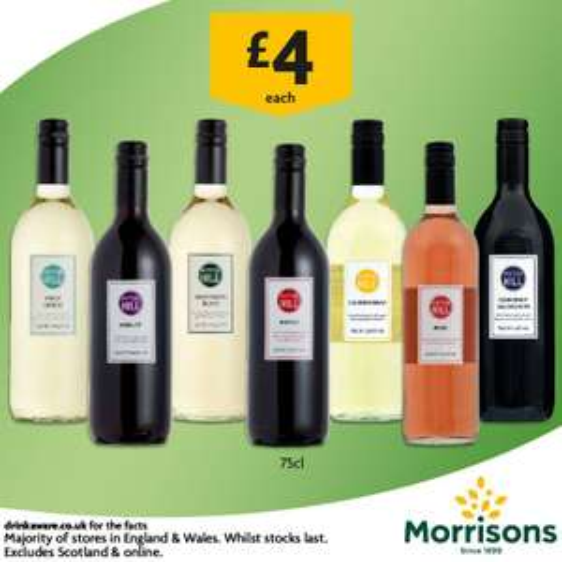 Myton Hill new range of £4 a bottle wine inc rose, merlot, chardonnay, sauvignon blanc & pinot grigio @ Morrisons