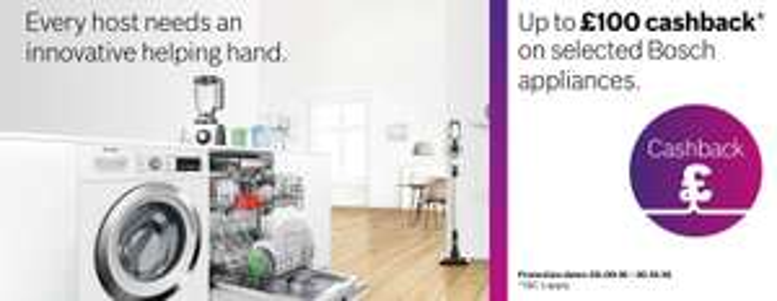 Bosch appliances up to £100 cashback