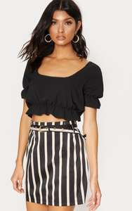 Upto 70% Off Sale + Extra 20% Off w/code at PrettyLittleThing.com eg Black Stripe Mini Skirt (was £20) Now £9.60