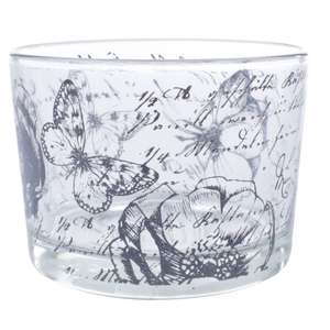 Glass tea light holders reduced: Butterflies with flowers,Rosebud,+ 2 other designs now only 49p each @ Poundstretcher