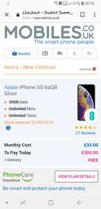 Iphone xs 64gb EE 30gb data unlimited calls and txts £500 upfront £33 per month - £1,292 @ Mobiles.co.uk