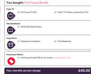 virgin media retention deal - Full Bundle with Vivid 200 and weekend calls. £45pm x 12 months = £540