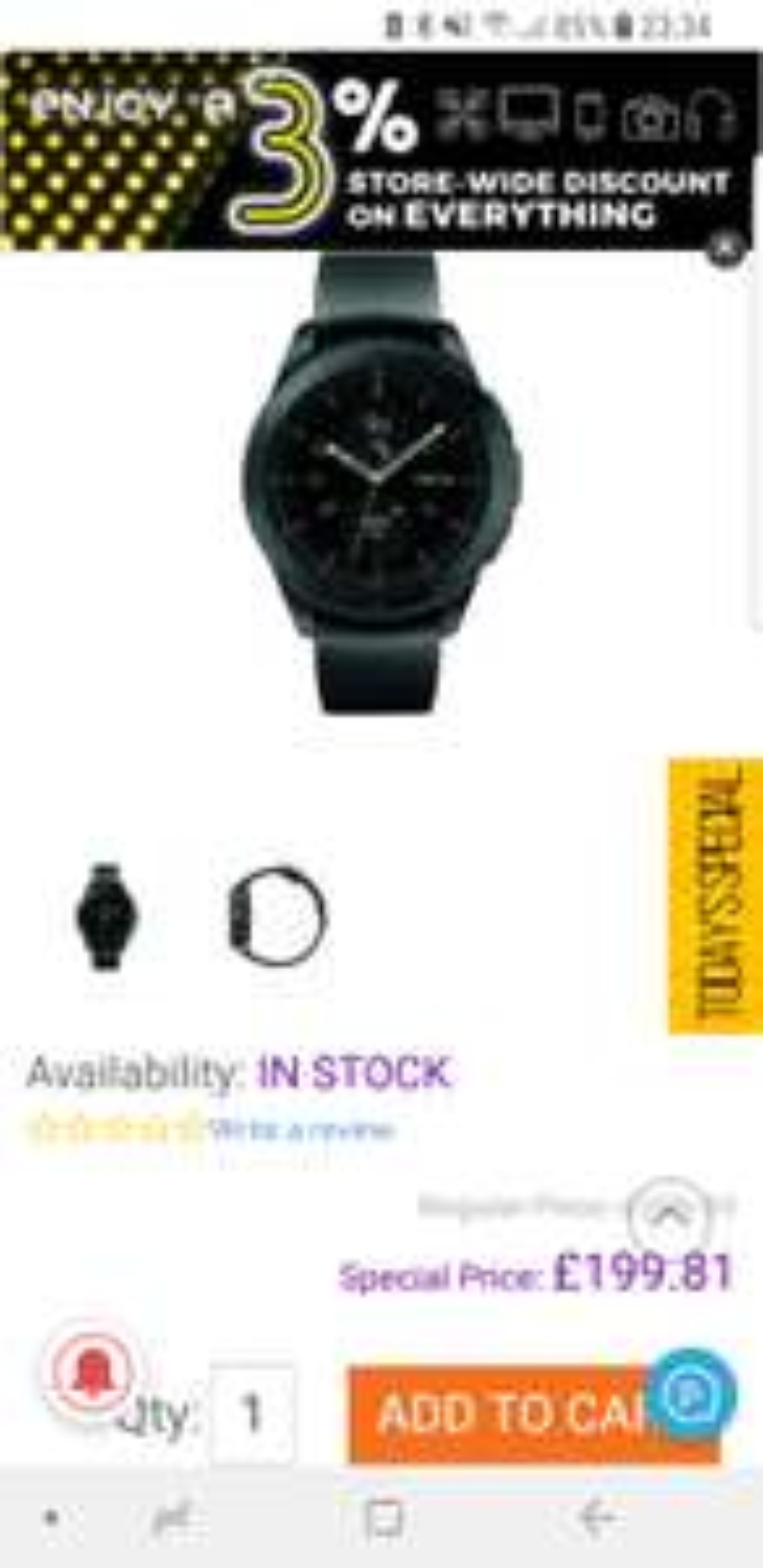 Samsung Galaxy Watch 42mm Midnight Black £199.81 @ Toby Deals