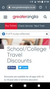 School / College discounted season up to 50% off at Greater Anglia