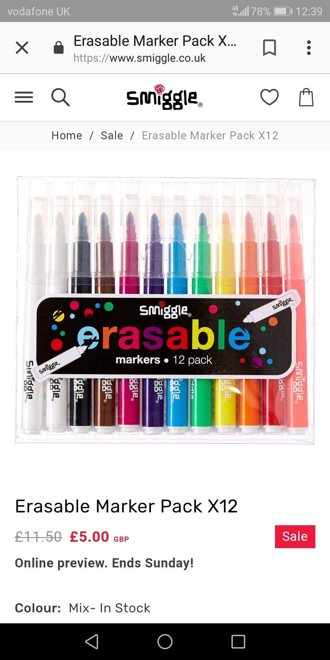 Smiggle erasable marker pack x 12 £5 @ smiggle instore / online
