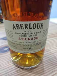 Aberlour A'Bunadh cask strength scotch whisky instore at Booths for £40