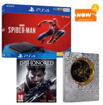 PS4 Slim 500GB with Spiderman, Dishonored Death Of The Outsider, Shadow of the Tomb Raider Steelbook and 2 MONTHS NOWTV £279.99 @ Game (other bundles listed in description)