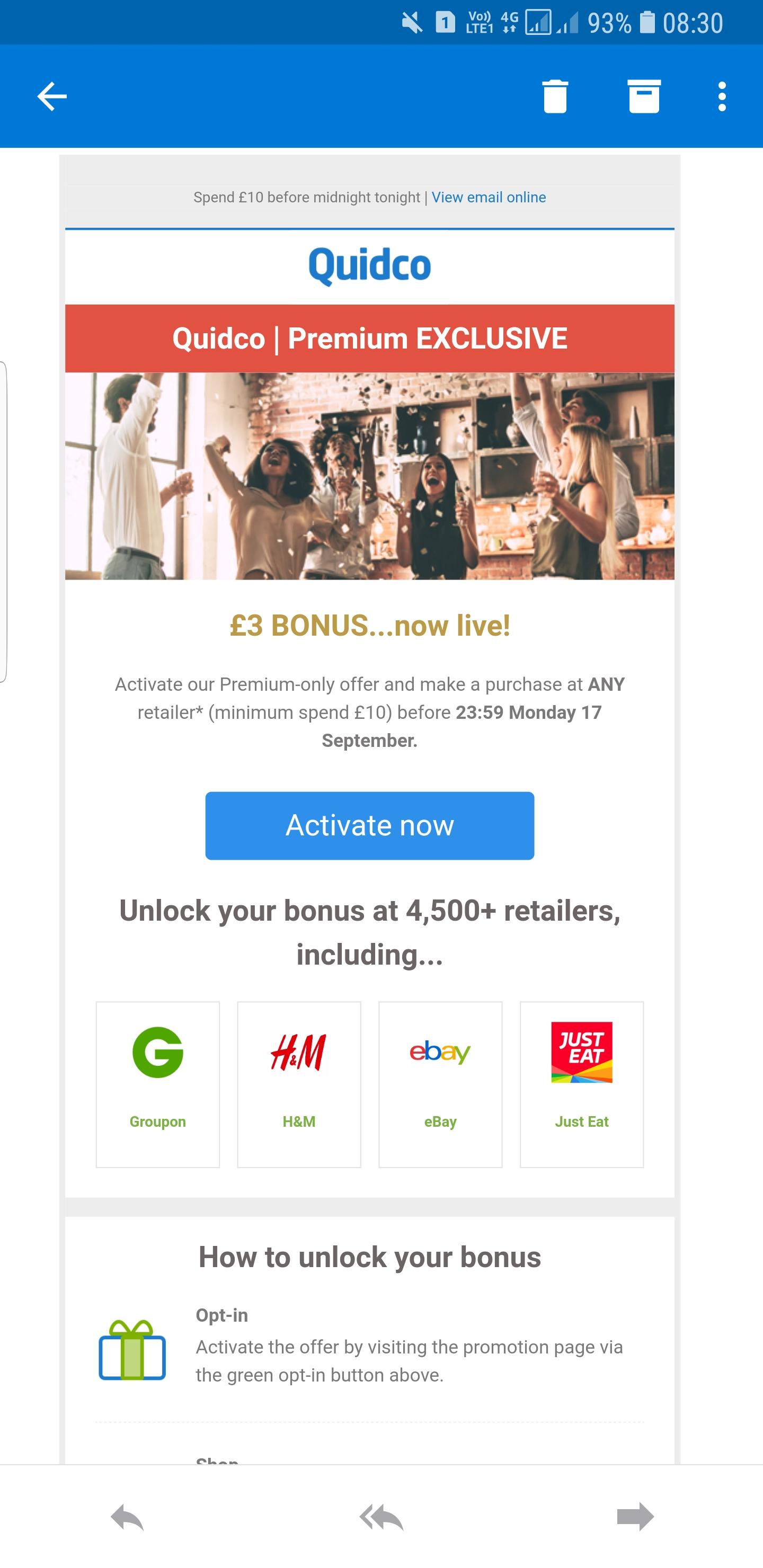 Quidco Premium Exclusive £3 bonus when you spend £10 at any retailer