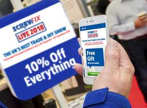 Screwfix Live 2018 Free £30 gift+10% off everything 28-30th September 2018 Farnborough