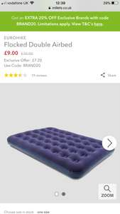 Eurohike Flocked Double Airbed was £30 now £7.20 w/code @ Millets - £1 c&c