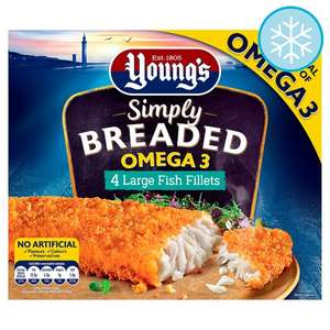 Youngs Breaded Omega3 - Large Fish Fillets 4 Pack 480g for £1.50 @ Tesco (from 18/09)