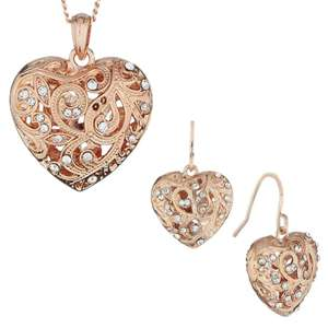 Fiorelli Rose Gold Colour Filigree Heart Necklace With Clear Crystals £8 / Matching Earrings £7 @ Very - Free C&C (Silver version also on offer / See OP)