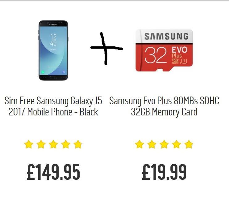Samsung Galaxy J5 mobile phone + get FREE Samsung EVO Plus 32 GB for £149.95 FREE C&C @ Argos