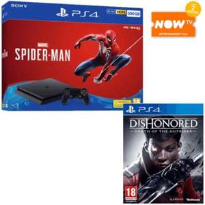 PS4 Slim 500GB + Spider-Man + Dishonored Death of The Outsider + Now TV 2 Month Pass Bundle £249.99 at Game