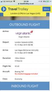 Direct flights UK to Vegas with Virgin £333 @ Travel Trolley