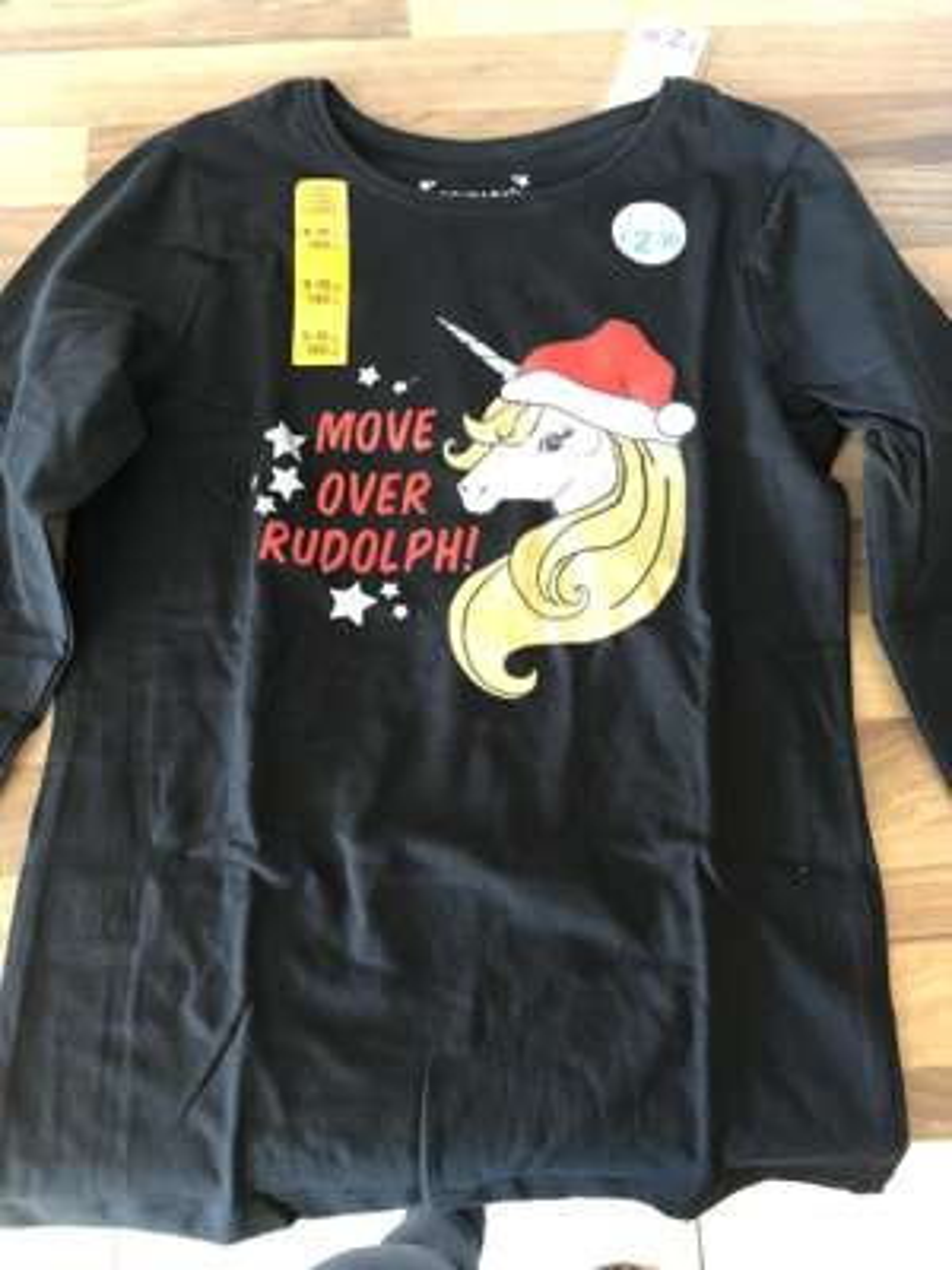 Girls unicorn, (move over rudolph) christmas tshirt £2.30 primark
